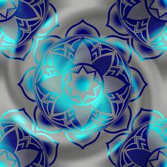 Mandala circles pattern on blur spiral background.