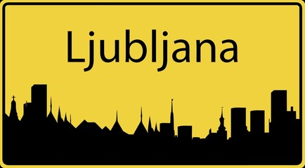 Ortsschild Ljubljana