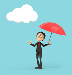 3D Businessman with umbrella