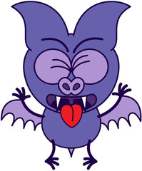 Purple bat sticking tongue out and feeling disgusted