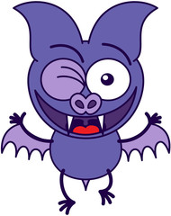 Purple bat winking mischievously