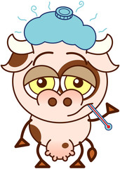 Cute cow feeling sad and sick