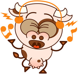 Cute cow with earphones listening to music and singing