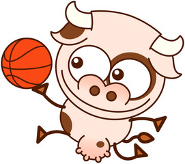 Cute cow jumping and playing basketball
