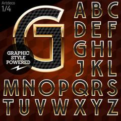 Shiny font of gold and diamond vector illustration. Artdeco