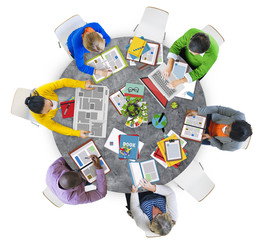 Aerial View People Teamwork Working Studying Concept