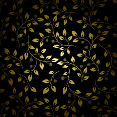 golden leaves on black background - vector