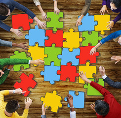 Jigsaw Puzzle Brainstorming Business Reaching Thinking Concept