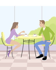 Couple sitting in cafe