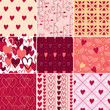 Vintage hearts and love symbols patterns set.
