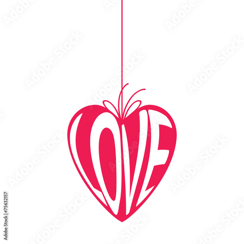 Heart shape hang tag with word love. - 75632157