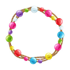 Colorful glass beads decoration round frame.