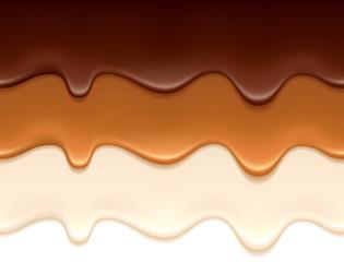 Melted chocolate, caramel and yogurt drips.