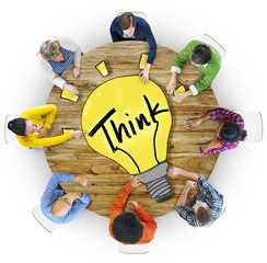 Aerial View People Ideas Innovation Motivation Think Concept