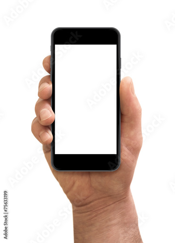 Male hand holding the smartphone with blank screen isolated. - 75633199