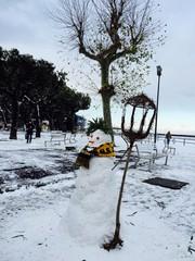 Snowman in winter day