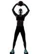woman exercising fitness ball workout   silhouette