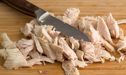 Chopped turkey on cutting board with knife