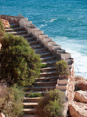 Stairs along the coastal pathway