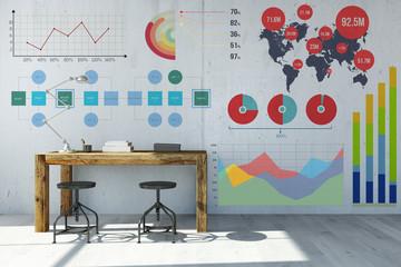 Schreibtisch vor vielen Diagrammen an Wand