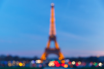 Bokeh photo of the shimmering Eiffel Tower at night