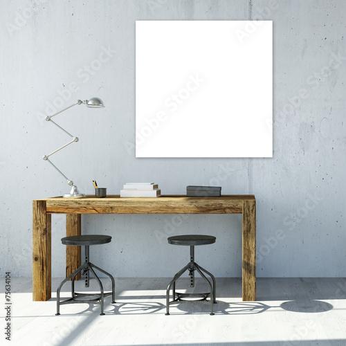 Bild an Wand über Schreibtisch - 75634104