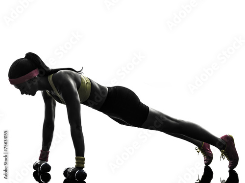 canvas print picture woman exercising fitness workout push ups  silhouette
