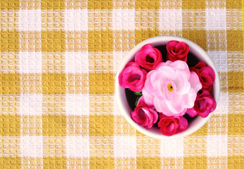 artificial roses in bowl 5