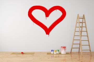Rotes Herz an Wand als Symbol für Liebe