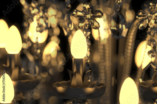 canvas print picture Energiesparlampe im Kronleuchter