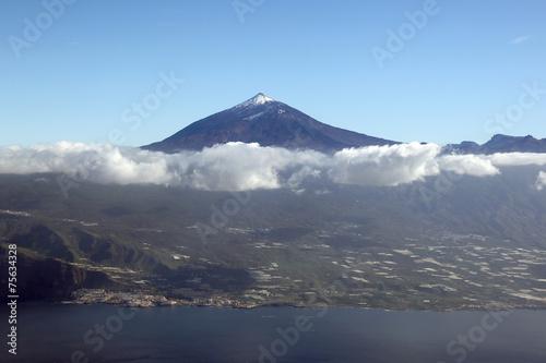 canvas print picture Luftbild Panorama Insel Teneriffa Kanaren Spanien mit Berg Teide