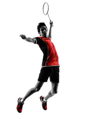 badminton player young man silhouette