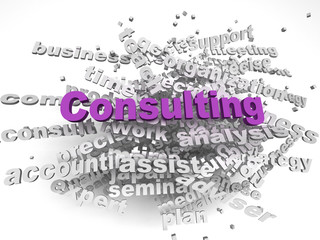 3d image Consulting issues concept word cloud background