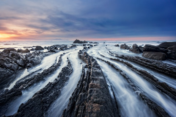 Barrika beach at sunset