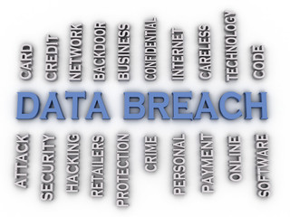 3d image Data Breach issues concept word cloud background