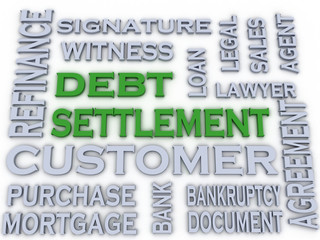 3d image Debt settlement  issues concept word cloud background
