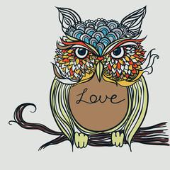 Открытка сова на день Валентина