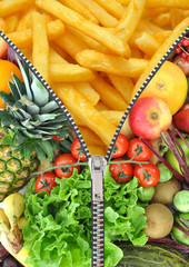 Healthy and unhealthy food zipper concept