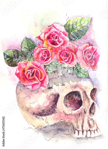 skull with roses - 75635362
