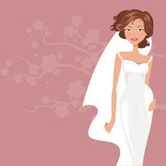 Bride in white dress. Vector illustration