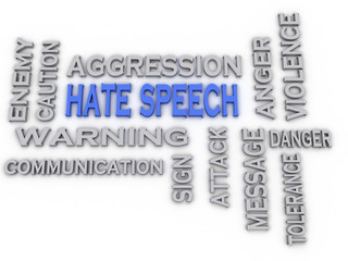 3d image hate speech issues concept word cloud background