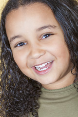 Happy Laughing Mixed Race Girl Child
