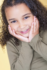 Happy Cheeky African American Mixed Race Girl Child