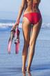 Rear View Red Bikini Woman At Beach