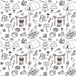 Hand drawn pattern, picnic, travel and camping theme. - 75636397