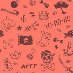 Hand drawn pirates seamless background.