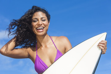 Beautiful Bikini Woman Girl Surfer & Surfboard Beach