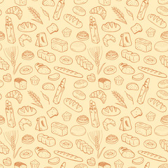 Hand drawn bakery seamless pattern.