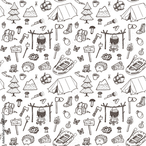 Hand drawn pattern, picnic, travel and camping theme.