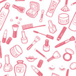 Hand drawn beauty and cosmetics items set. - 75636572